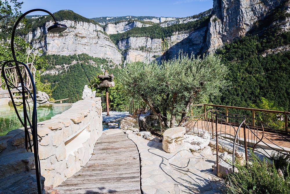 bassin naturel et olivier, vue sur le vercors